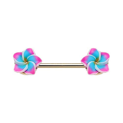WILDKLASS Tropical Plumeria Flower Nipple Barbell Ring-WildKlass Jewelry