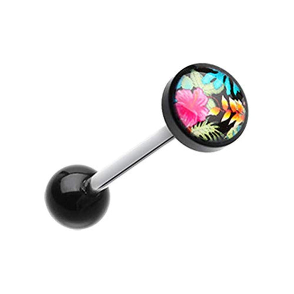 Hawaiian Luau Flower Logo Acrylic WildKlass Barbell Tongue Ring-WildKlass Jewelry
