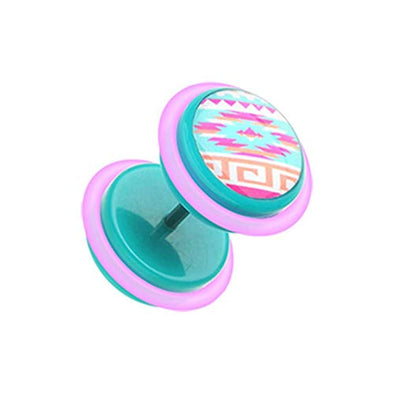 Pastel Navajo Retro Acrylic WildKlass Fake Plug with O-Rings-WildKlass Jewelry