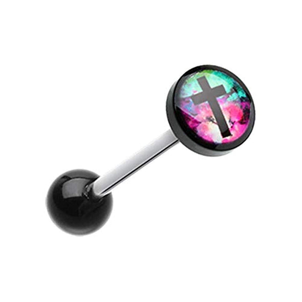 Galaxy Cross Logo Acrylic WildKlass Barbell Tongue Ring-WildKlass Jewelry