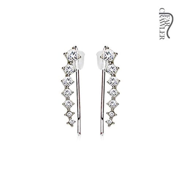 Pair of Seven Round Crystals Ascending WildKlass Ear Crawler/Ear Climber-WildKlass Jewelry