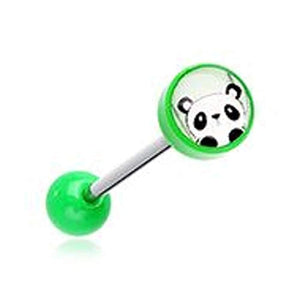 Peeking Panda Acrylic Logo WildKlass Barbell Tongue Ring-WildKlass Jewelry
