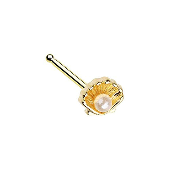 Golden Ariel's Pearl Shell WildKlass Nose Stud Ring-WildKlass Jewelry