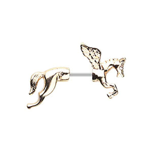 Golden Pegasus Fake Taper WildKlass Earring-WildKlass Jewelry