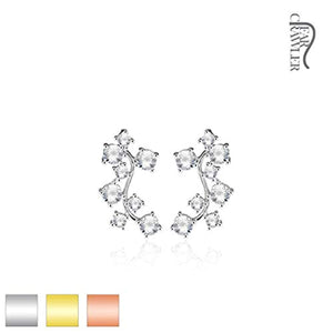 Pair of CZ Cluster Vine Prepacked WildKlass Ear Crawler/Ear Climber-WildKlass Jewelry