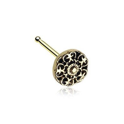 Golden Kali Filigree Nose Stud Ring 316L Surgical Steel-WildKlass Jewelry