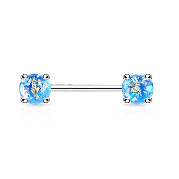 WildKlass Lava Glitter Prong Set 316L Surgical Steel Nipple Barbell Rings-WildKlass Jewelry