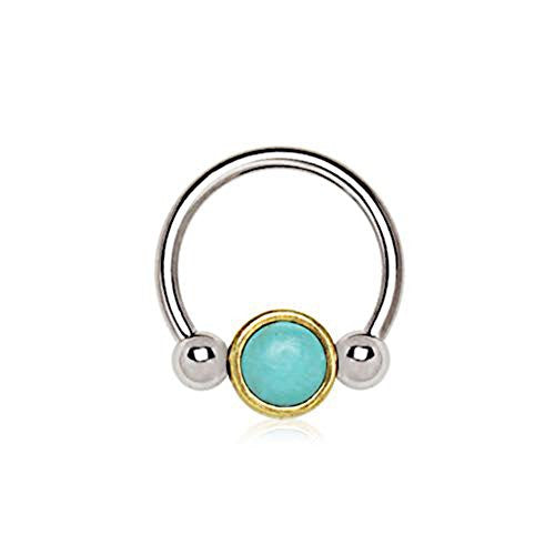 316L Stainless Steel Turquoise Snap-In WildKlass Captive Bead Ring / Septum Ring-WildKlass Jewelry