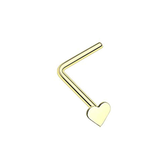 Golden Heart L-Shaped WildKlass Nose Ring-WildKlass Jewelry