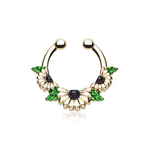 Golden Daisy Garden Icon WildKlass Fake Septum Clip-On Ring-WildKlass Jewelry