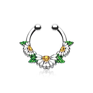 Daisy Garden Icon WildKlass Fake Septum Clip-On Ring-WildKlass Jewelry