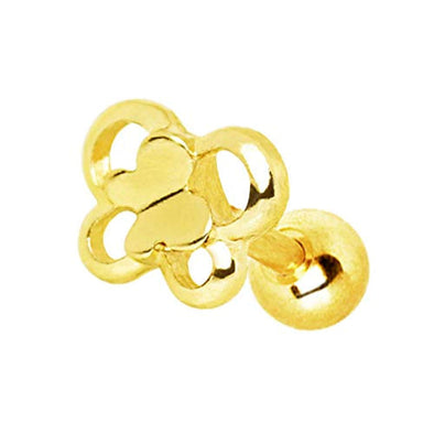 Gold Plated Double Butterfly WildKlass Cartilage Earring-WildKlass Jewelry