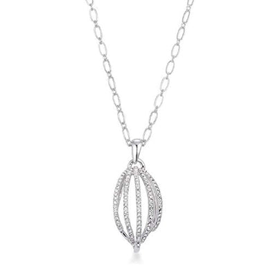 WildKlass Rhodium Plated Contemporary Clear Crystal Drop Necklace-WildKlass Jewelry