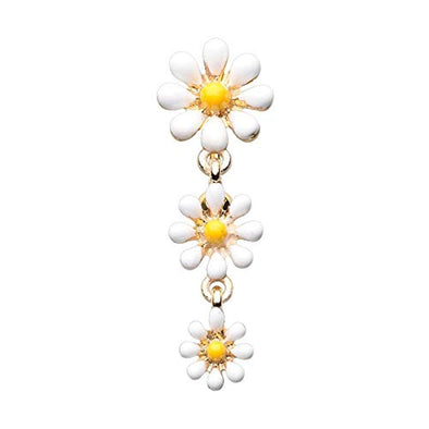 Golden Reversible One Daisy at a Time WildKlass Belly Button Ring-WildKlass Jewelry