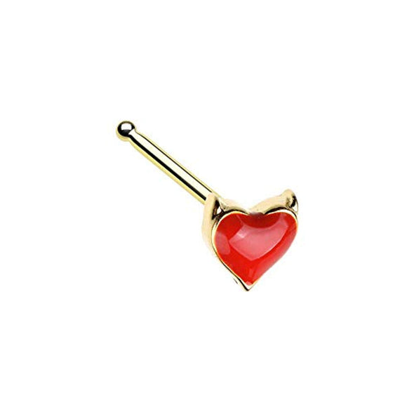 Golden Devil's Heart WildKlass Nose Stud Ring-WildKlass Jewelry