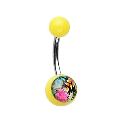 Hawaiian Flower Acrylic Logo WildKlass Belly Button Ring-WildKlass Jewelry