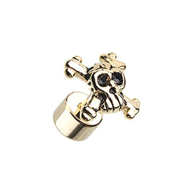 Golden Pirate Skull Steel WildKlass Fake Plug-WildKlass Jewelry
