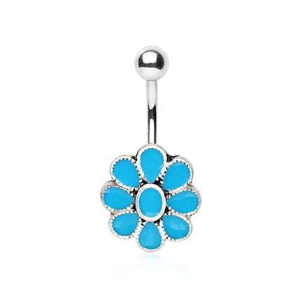 316L Stainless Steel Teal Blue Flower WildKlass Navel Ring-WildKlass Jewelry