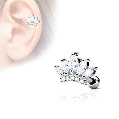 CZ Paved Tiara Top 316L Surgical Steel WildKlass Ear Cartilage Barbell Studs-WildKlass Jewelry