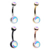 Silver & Golden & Rose Gold & Colorline Revo Double Ball Inlay Steel Belly Button Ring-WildKlass Jewelry