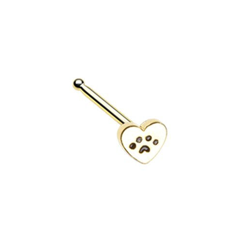 Golden Heart Paw Animal Lover WildKlass Nose Stud Ring-WildKlass Jewelry