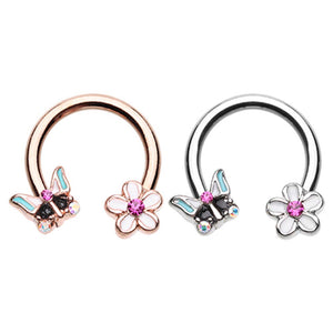 Rose Gold & Silver Spring Butterfly Flower Horseshoe Circular Barbell-WildKlass Jewelry
