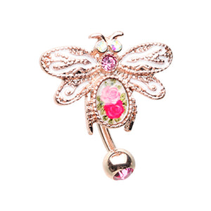 Rose Gold Vintage Soaring Dragonfly Drop Top Down Reversible Belly Button Ring-WildKlass Jewelry