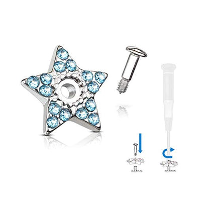 WildKlass Crystal Paved Star Dermal Anchor Jacket with 316L Surgical Steel Screw on Post-WildKlass Jewelry