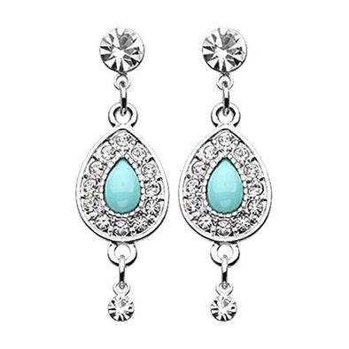 CZ Dangle Avice Turquoise Multi-Gem WildKlass Ear Stud Earrings-WildKlass Jewelry