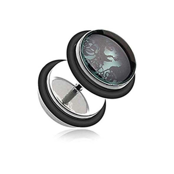 Glow in the Dark Day of the Dead Girl Steel WildKlass Fake Plug with O-Rings-WildKlass Jewelry