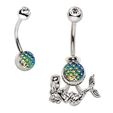 316L Stainless Steel 2-in-1 Fish Scale Cabochon WildKlass Mermaid Navel Ring-WildKlass Jewelry