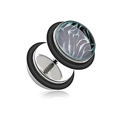 Glow in the Dark Zebra Steel WildKlass Fake Plug with O-Rings-WildKlass Jewelry