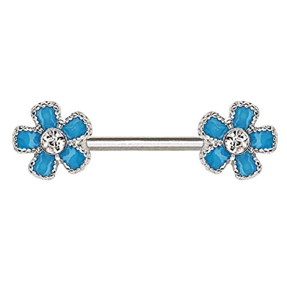 316L Stainless Steel Jeweled Teal Blue Flower WildKlass Nipple Bar-WildKlass Jewelry