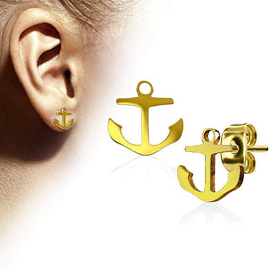WildKlass Pair of Hand Polished Anchor 316L Stainless Steel Earring Studs-WildKlass Jewelry