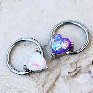 316L Stainless WildKlass Steel Synthetic Opal Heart Snap-in Captive Bead Ring/Septum Ring-WildKlass Jewelry