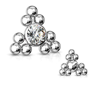 WildKlass CZ Center Triangle Ball Clusters Internally Threaded 316L Surgical Steel Dermal Top-WildKlass Jewelry
