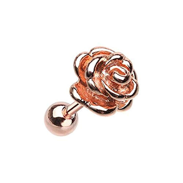 Rose Gold Steel Rose WildKlass Cartilage Tragus Earring-WildKlass Jewelry