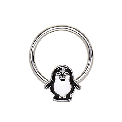 316L Stainless Blue Penguin Snap-in WildKlass Captive Bead Ring/Septum Ring-WildKlass Jewelry