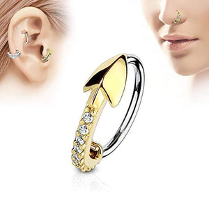 WildKlass CZ Paved Arrow 316L Surgical Steel Nose, Cartilage Hoop Rings-WildKlass Jewelry
