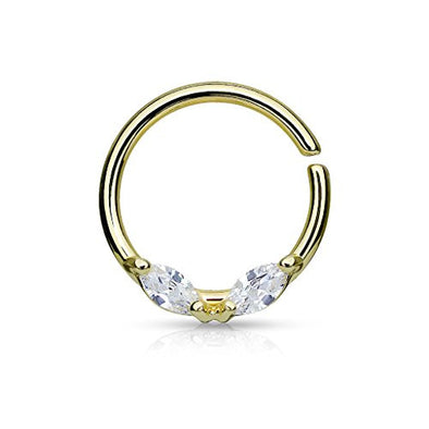 316L Surgical Steel Bendable WildKlass Septum/Cartilage Hoop Ring with Prong Set Marquise CZs-WildKlass Jewelry