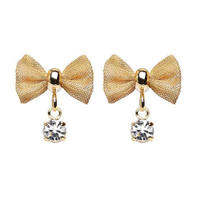 Golden Dainty Mesh Bow Gem Dangle Ear Stud WildKlass Earrings-WildKlass Jewelry