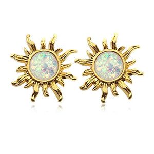 Golden Opal Sun WildKlass Ear Stud Earrings-WildKlass Jewelry
