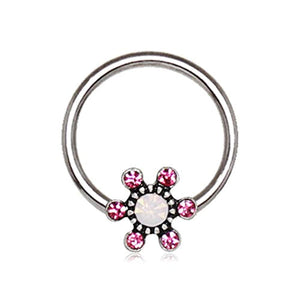 316L Stainless Steel Jeweled Flower Snap-in WildKlass Captive Bead Ring/Septum Ring-WildKlass Jewelry