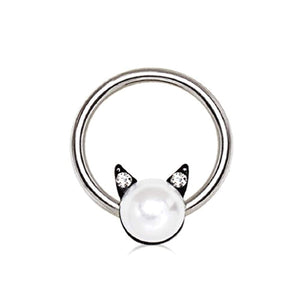 316L Stainless Steel Pearl Cat Snap-in WildKlass Captive Bead Ring/Septum Ring-WildKlass Jewelry