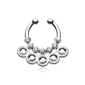 Aureole Gemina Sparkle WildKlass Fake Septum Clip-On Ring-WildKlass Jewelry