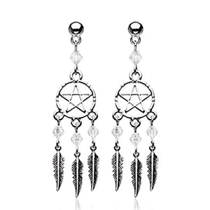 The Pentagram Dreamcatcher Feather WildKlass Earring-WildKlass Jewelry