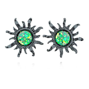 Blackline Opal Sun WildKlass Ear Stud Earrings-WildKlass Jewelry