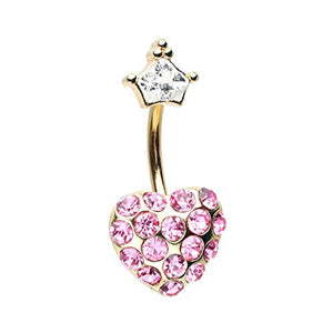 Golden Fairytale Heart Crown WildKlass Belly Button Ring-WildKlass Jewelry