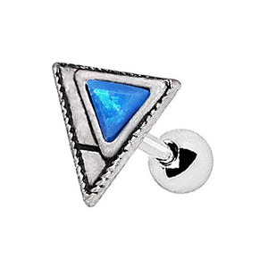 316L Stainless WildKlass Steel Blue Synthetic Opal Triangle Cartilage Earring-WildKlass Jewelry