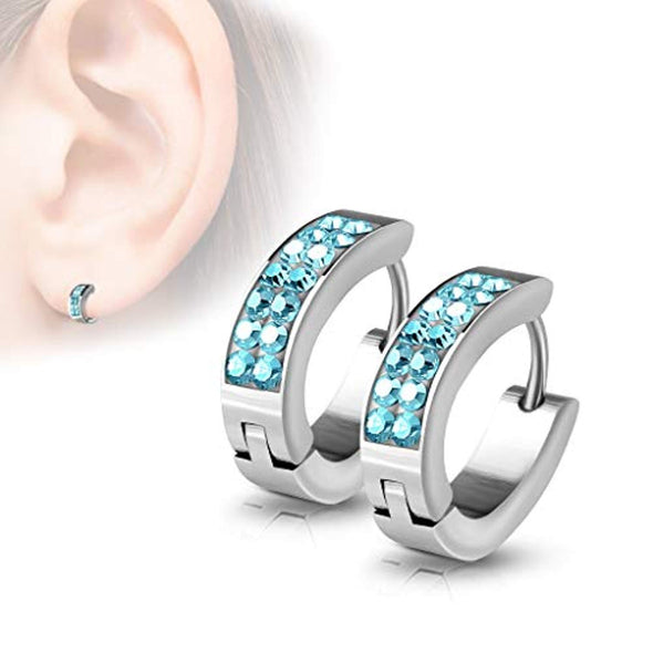WildKlass Pair of Lined Set Crystals Front Oval Shape Stainless Steel Hoop/Huggie Earrings-WildKlass Jewelry